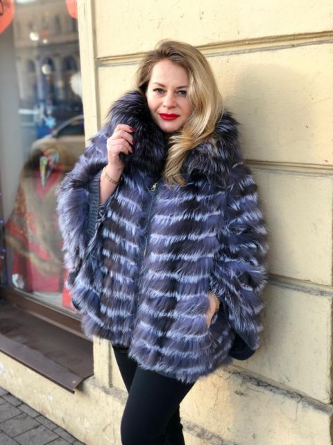 Куртка из меха чернобурой лисы, подбитая мягкой шерстью