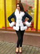 Куртка с мехом белого песца