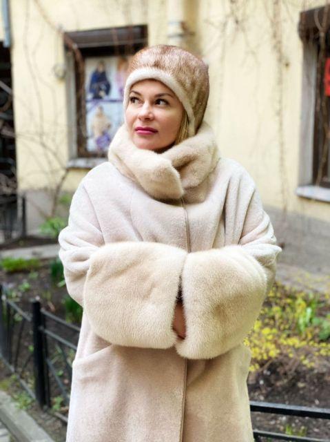 Пальто цвет пудра (норка / овчина)
